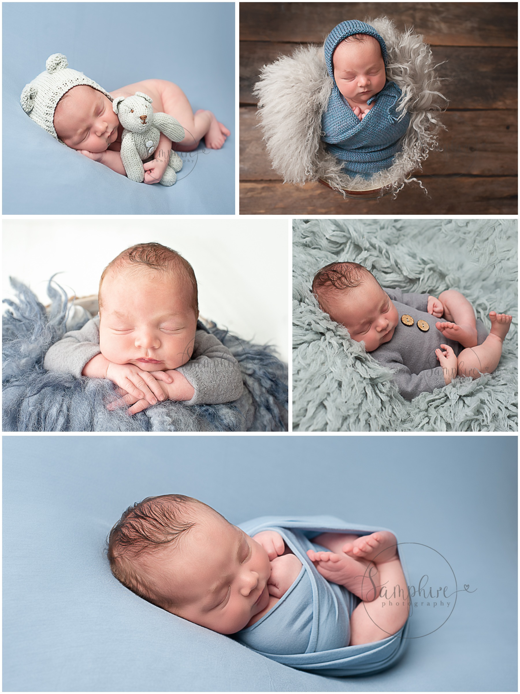 Newborn Photographs with older Sibling blue grey knits layers flokati by Samphire Photography