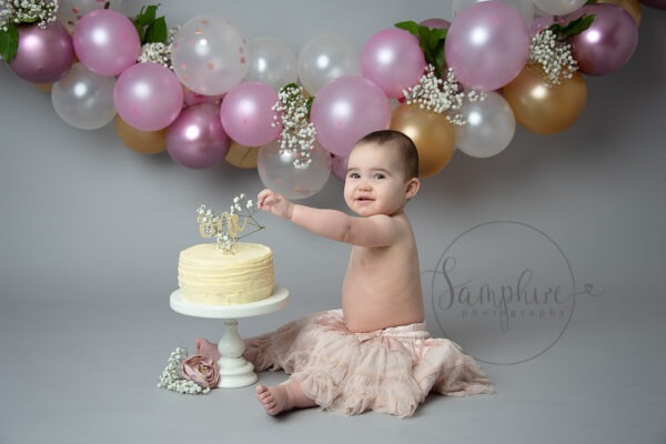 Beautiful Balloon Cake Smash pink grey gold Samphire Photography