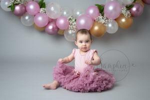 Beautiful Balloon Cake Smash pink grey gold Samphire Photography