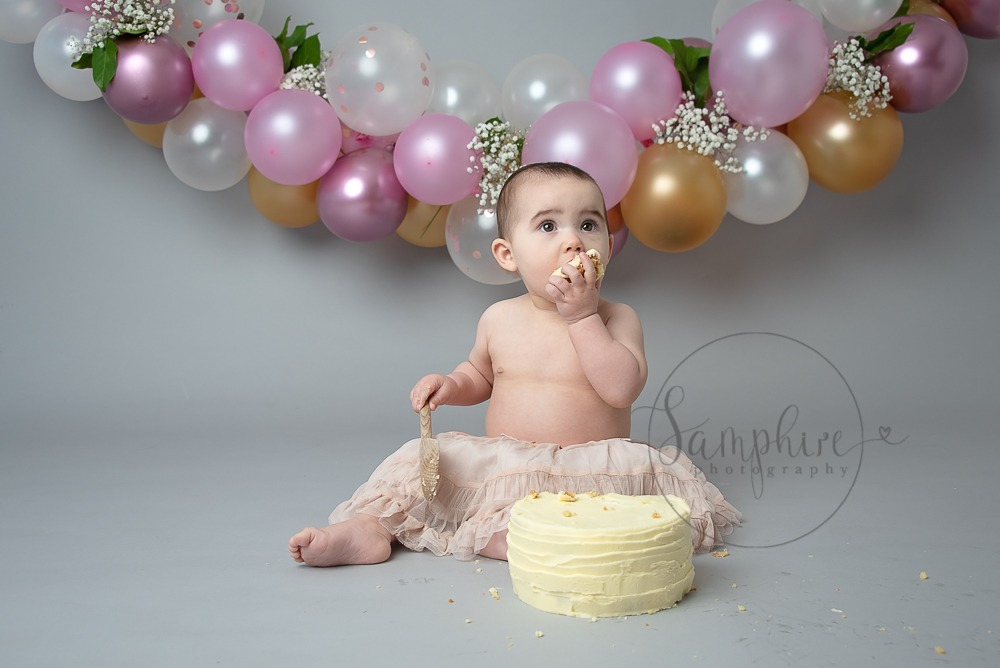 Beautiful Balloon Cake Smash pink grey gold Samphire Photography Sussex
