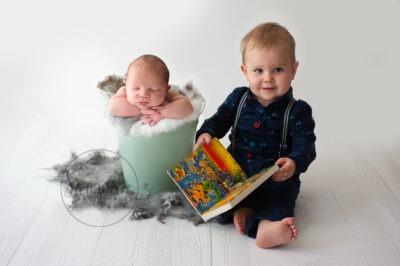 Woodland Maternity and Newborn Session studio portrait baby boy sleeping brothers Samphire Photography