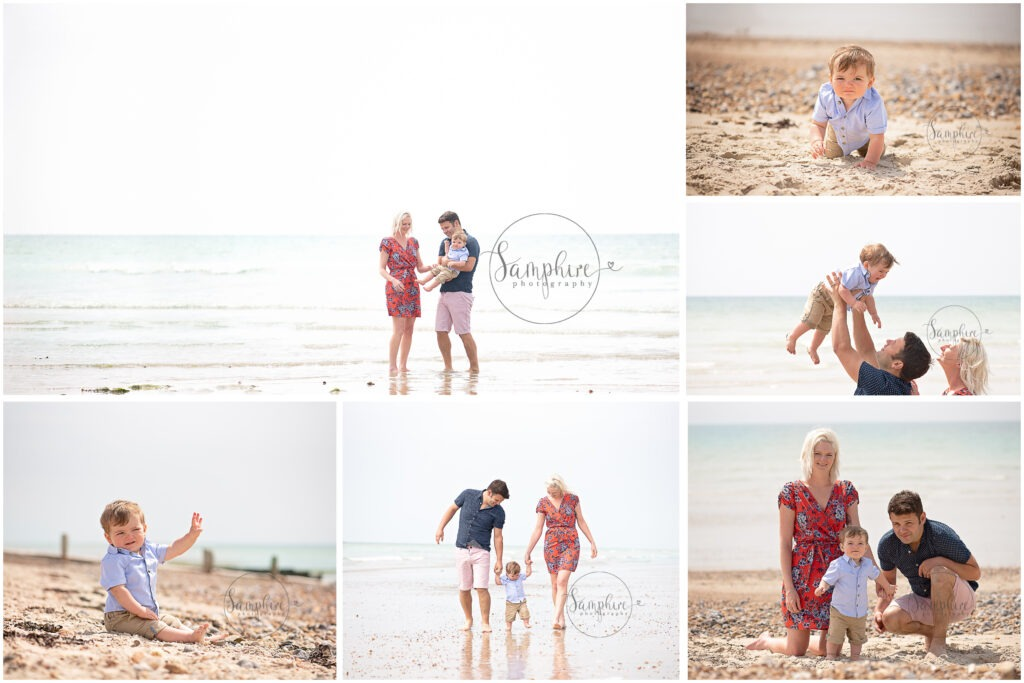 Family Portraits by the Sea summer sunshine beach West Sussex Samphire Photography