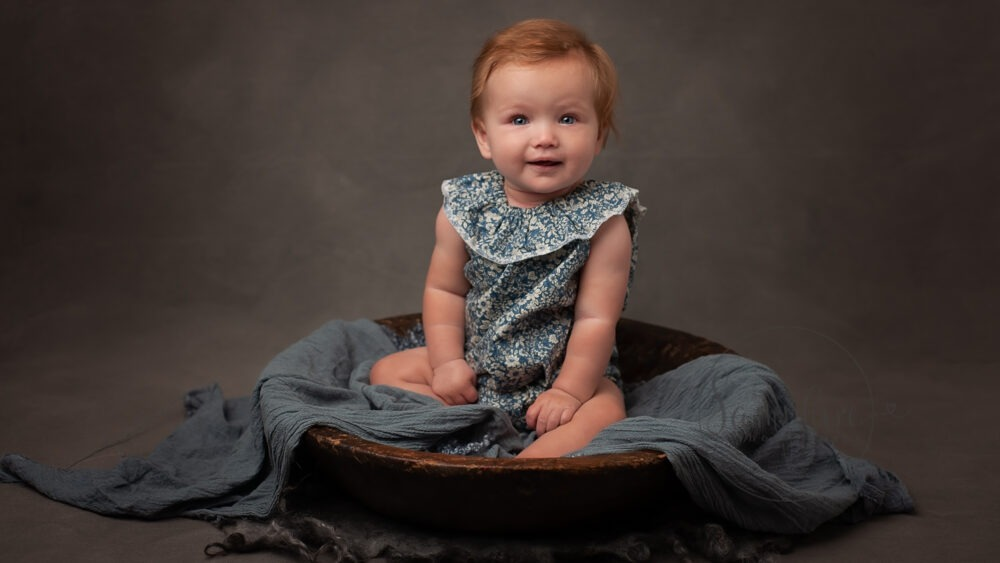 baby photo shoot girl sitting bowl blue Samphire Photography