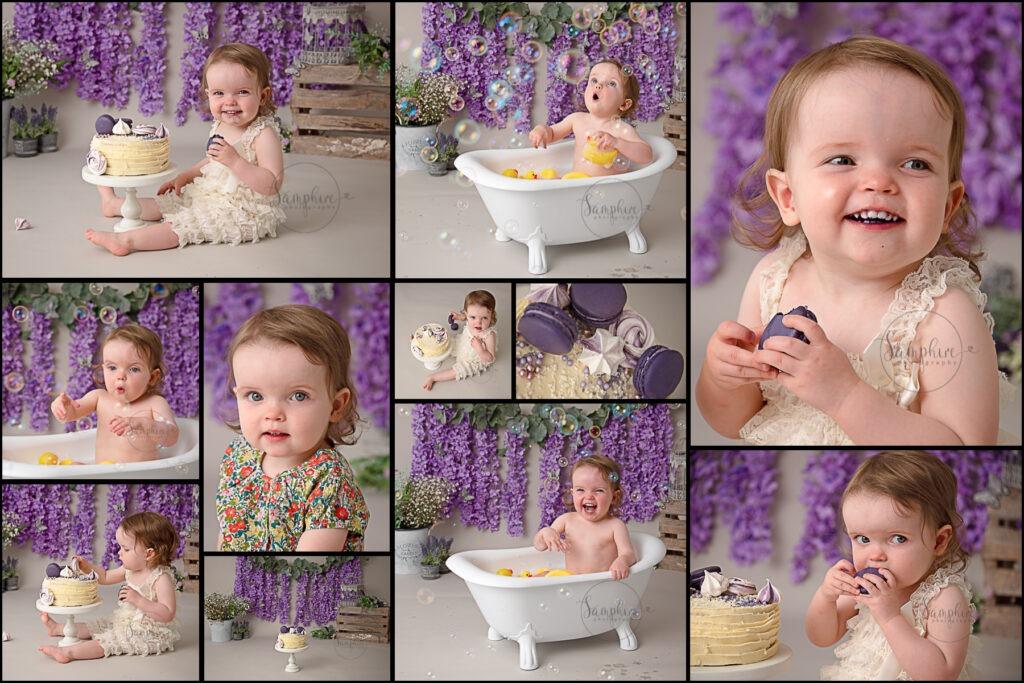 Cake smash photography near me Samphire Sussex happy purple floral