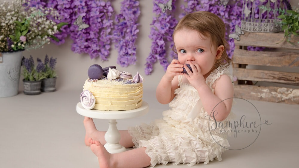 Cake smash photography near me Samphire purple floral