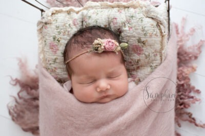 newborn baby shoot studio portrait pink floral