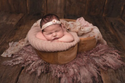newborn baby shoot studio portrait pink floral heart bowl