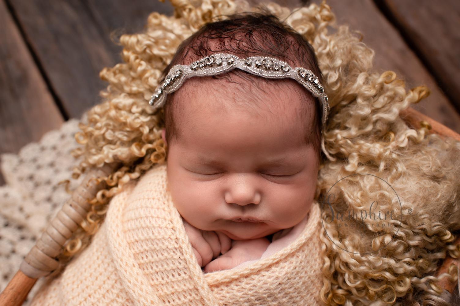 newborn baby shoot studio portrait yellow headband