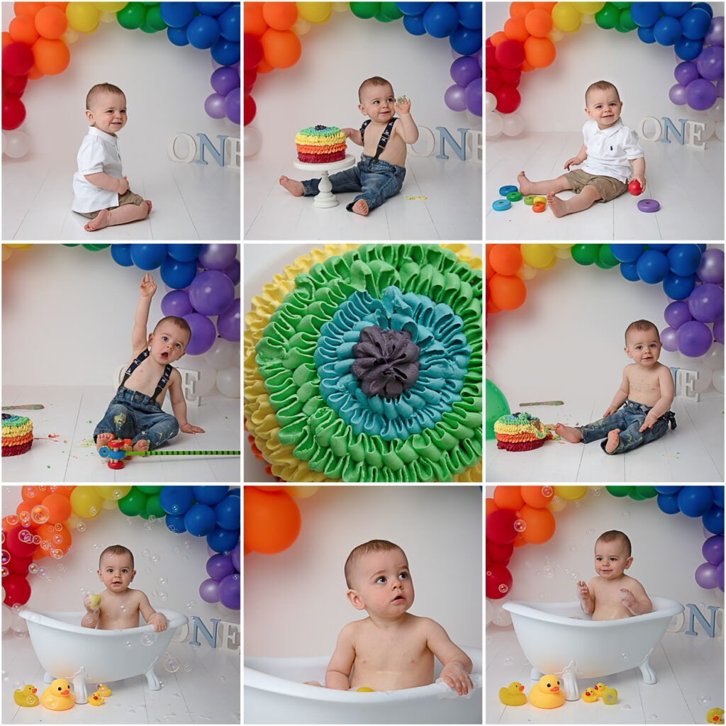 bright rainbow cake smash Samphire Photography Sussex