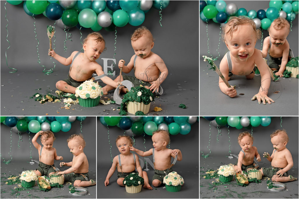 bespoke cake smash for twins balloon garland
